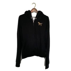 PINK Hoodie Black with Gold Sequins Size Medium